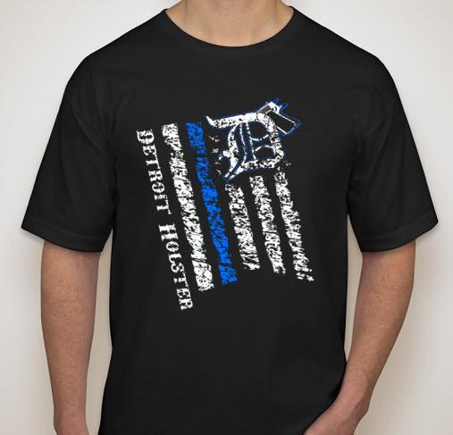 Detroit holster logo flag t shirt detroit holster for Custom t shirts detroit